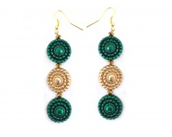 Green Gold Beaded Circle Stack Hook Earrings