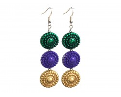 Mardi Gras Beaded Circle Stack Hook Earrings