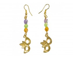 Light Mardi Gras Crystal Gold Mask Hook Earrings