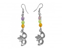 Light Mardi Gras Crystal Silver Mask Hook Earrings