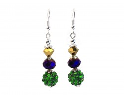 Mardi Gras Crystal Bead Hook Earrings
