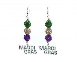 MARDI GRAS Pave Bead Hook Earrings