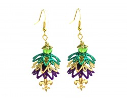 Mardi Gras Floral Tier Fleur De Lis Hook Earrings