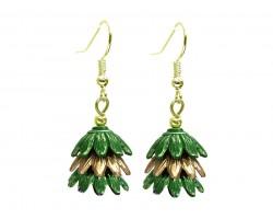 Green 3 Tier Floral Gold Hook Earrings