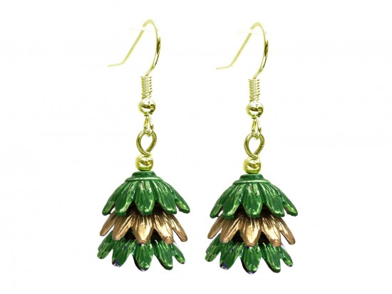 Green 3 Tier Floral Gold Hook Earrings