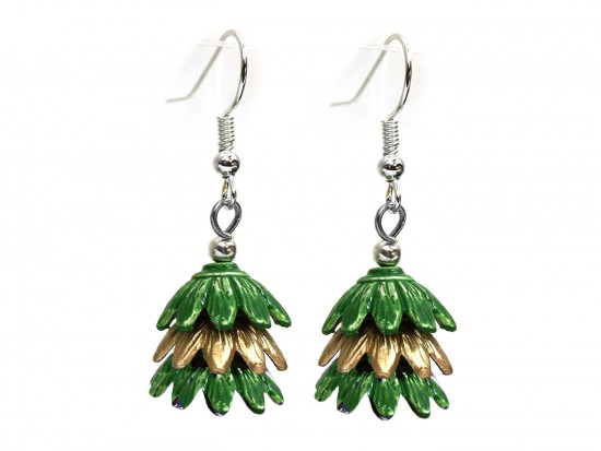 Green 3 Tier Floral Silver Hook Earrings