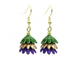 Mardi Gras 3 Tier Floral Gold Hook Earrings