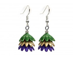 Mardi Gras 3 Tier Floral Silver Hook Earrings