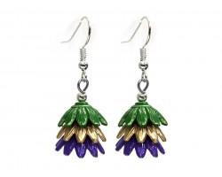 Mardi Gras 3 Tier Floral Silver Hook Earrings