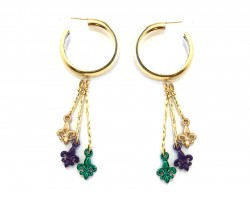 Mardi Gras Fleur De Lis Charm Gold Hoop Post Earrings