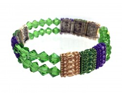 Mardi Gras Crystal Section Stretch Bracelet