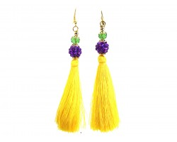 Mardi Gras Crystal Cloth Tassel Hook Earrings