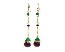 Mardi Gras Crystal Gold Chain Hook Earrings