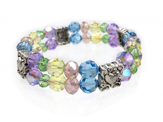 Easter Multi Silver Heart Crystal 2 Line Stretch Bracelet