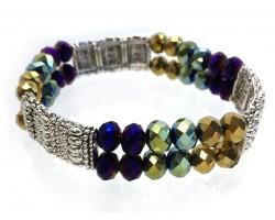Mardi Gras Silver Section Crystal 2 Line Stretch Bracelet