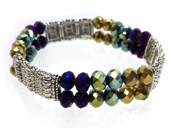 Mardi Gras Silver Section Crystal 2 Line Stretch Bracelet