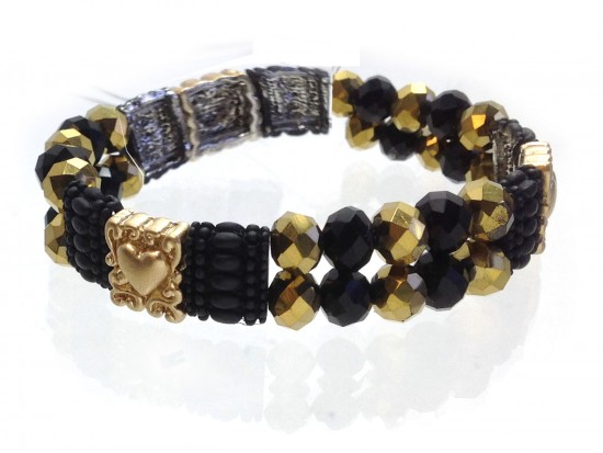 Black Gold Heart Crystal 2 Line Stretch Bracelet