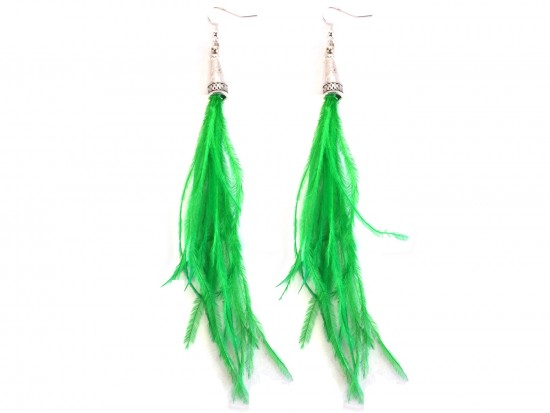 Green Feather Silver Cone Hook Earrings