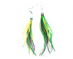 Mardi Gras Feather Silver Cone Hook Earrings