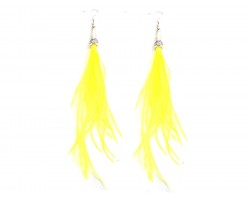 Yellow Feather Silver Cone Hook Earrings