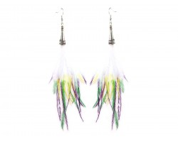 Mardi Gras Tip Feather Silver  Hook Earrings