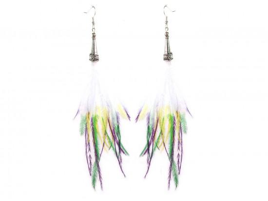 Mardi Gras Tip Feather Silver  Hook Earrings