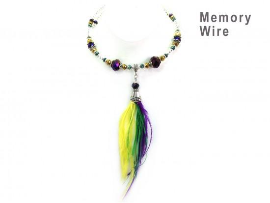 Mardi Gras Feather Silver Memory Wire Choker