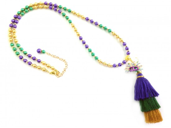 Mardi Gras 3 Tier Tassel Pearl Bead Necklace