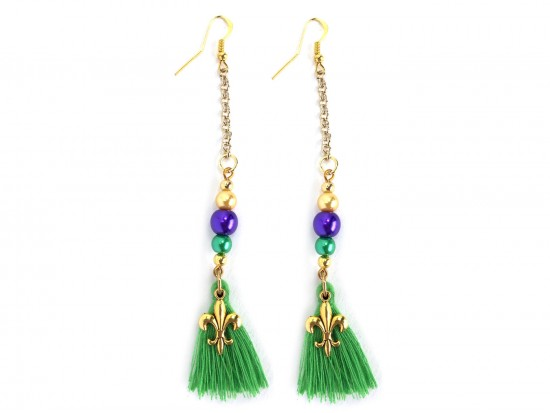 Mardi Gras Pearl Chain Fleur De Lis Tassel Hook Earrings