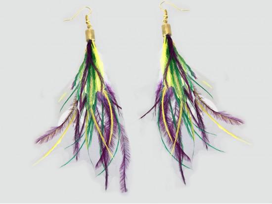 Mardi Gras Small Feather Gold Hook Earrings