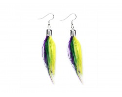Mardi Gras Small Feather Silver Hook Earrings