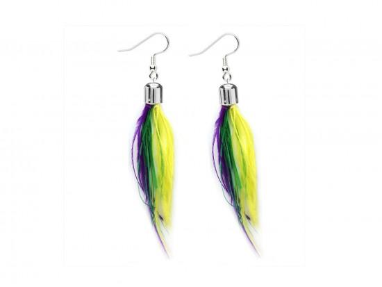 Mardi Gras Small Feather Silver Hook Earrings