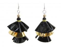 Black Gold Metallic Cloth 3 Tier Hook Earrings