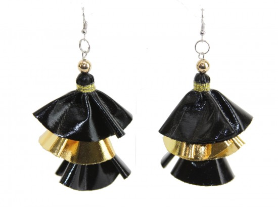 Black Gold Metallic Cloth 3 Tier Hook Earrings