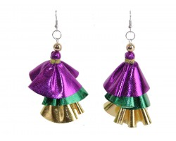 Mardi Gras Metallic Cloth 3 Tier Hook Earrings