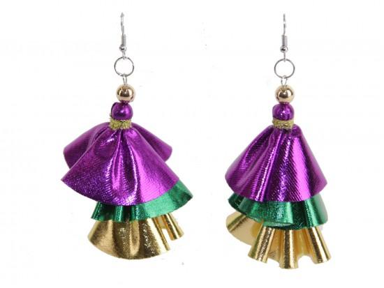 Mardi Gras Metallic Cloth 3 Tier Hook Earrings
