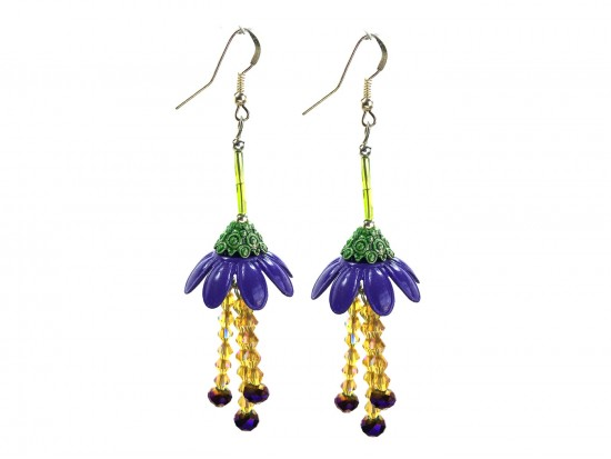 Purple Flower Crystal Hook Earrings