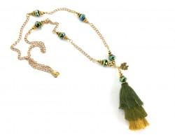 Green 3 Tier Tassel Gold Chain Necklace