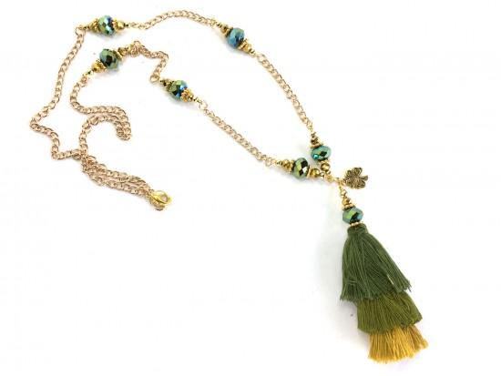 Green 3 Tier Tassel Gold Chain Necklace