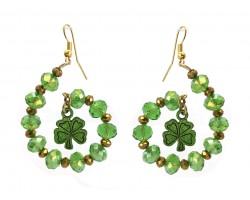 Green Crystal Clover Swirl Loop Gold Hook Earrings