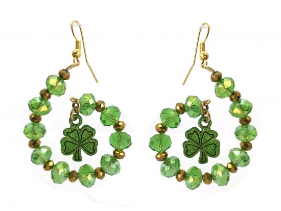 Green Crystal Clover Swirl Loop Gold Hook Earrings
