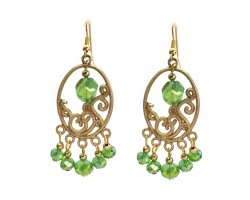 Green Crystal Gold Oval Ornament Hook Earrings