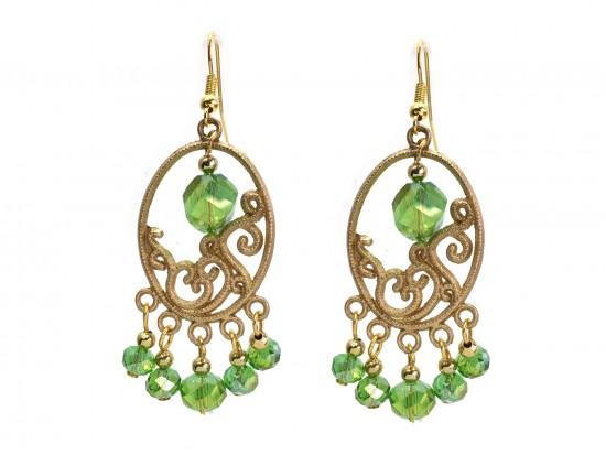 Green Crystal Gold Oval Ornament Hook Earrings