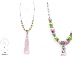 Easter Multi Pearl Tassel Necklace