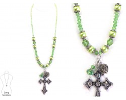 Peridot Green Crystal Pearl Cross Necklace