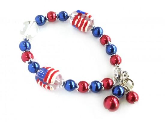 USA Flag Pearl Bead Stretch Bracelet