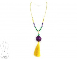 Mardi Gras Tassel Crystal Ball Pearl Necklace