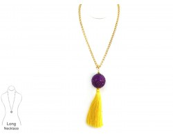 Purple Yellow Tassel Crystal Ball Necklace
