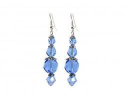 Blue Crystal Silver Hook Earrings