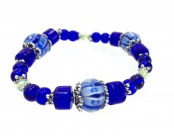 Blue Glass Lantern Beads White Pearl Stretch Bracelet